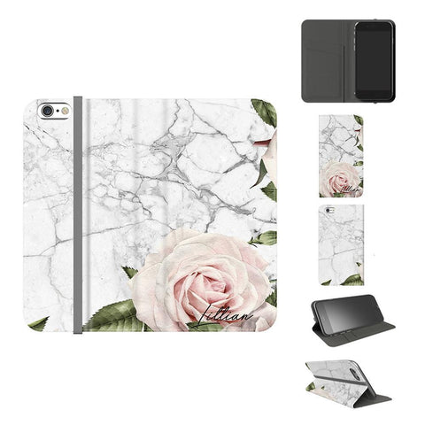 Personalised White Floral Marble Initials iPhone 7 Case