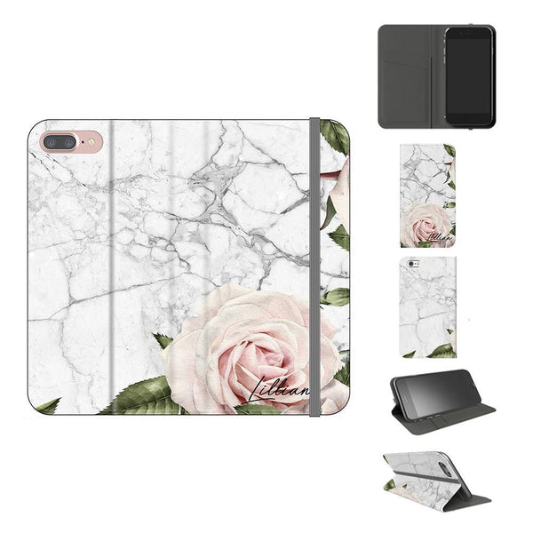 Personalised White Floral Marble Initials iPhone XS Case
