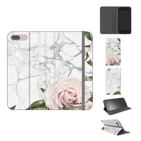 Personalised White Floral Marble Initials iPhone 8 Plus Case