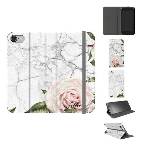 Personalised White Floral Marble Initials iPhone XR Case