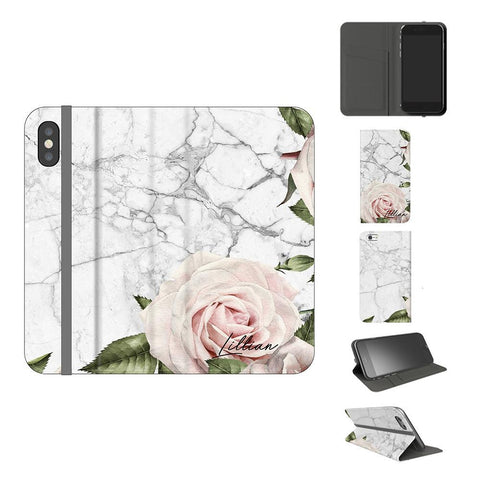 Personalised White Floral Marble iPhone X Case