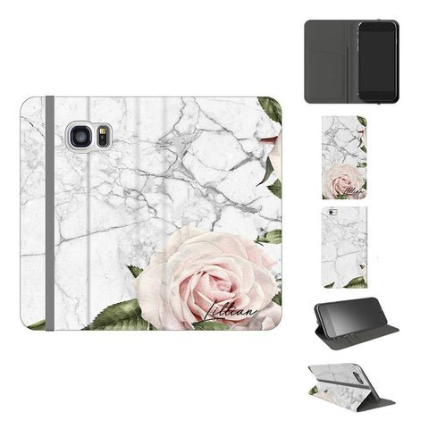 Personalised White Floral Marble Initials Samsung Galaxy S7 Case