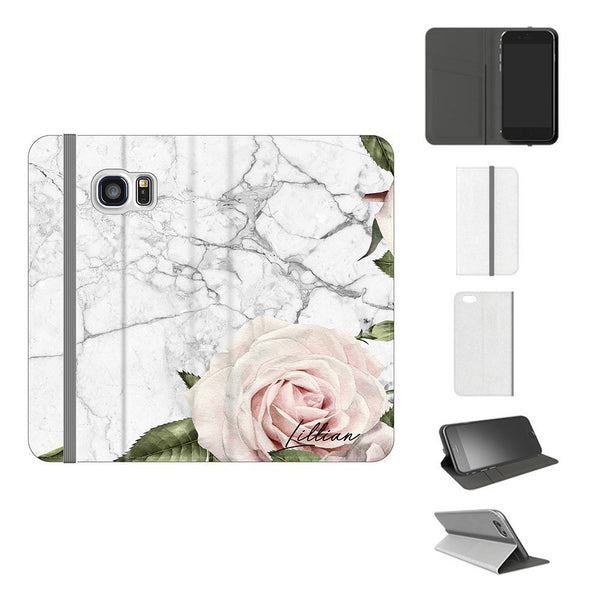 Personalised White Floral Marble Initials Samsung Galaxy S7 Edge Case