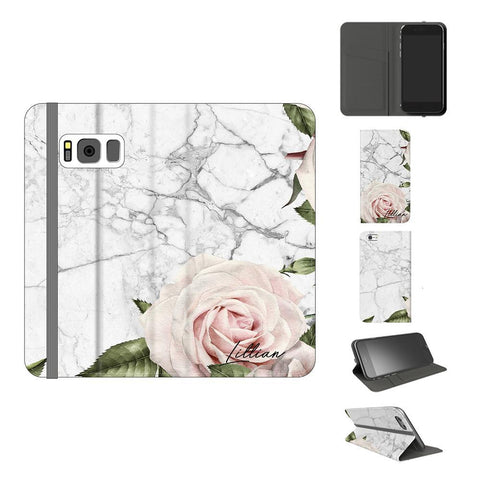 Personalised White Floral Marble Initials Samsung Galaxy S8 Case