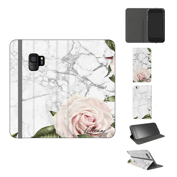 Personalised White Floral Marble Initials Samsung Galaxy S9 Case