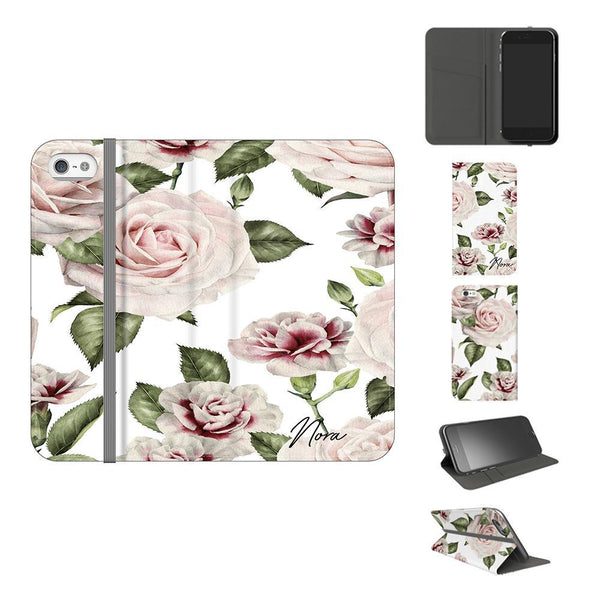 Personalised White Floral Rose Initials iPhone 5/5s/SE (2016) Case