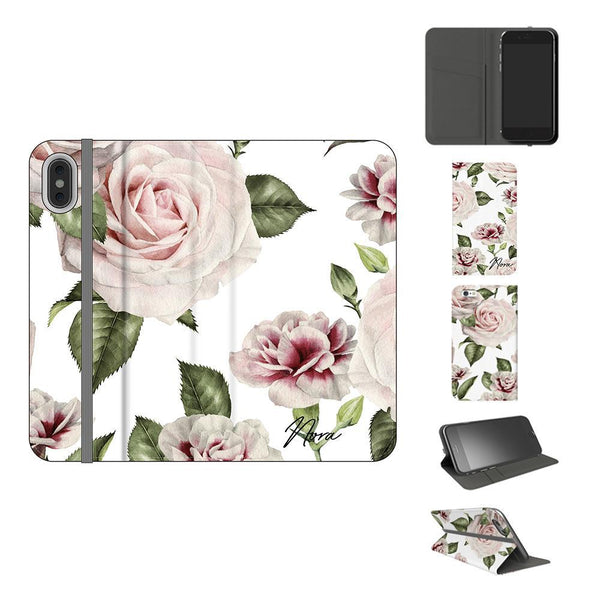 Personalised White Floral Rose Initials iPhone XS Case