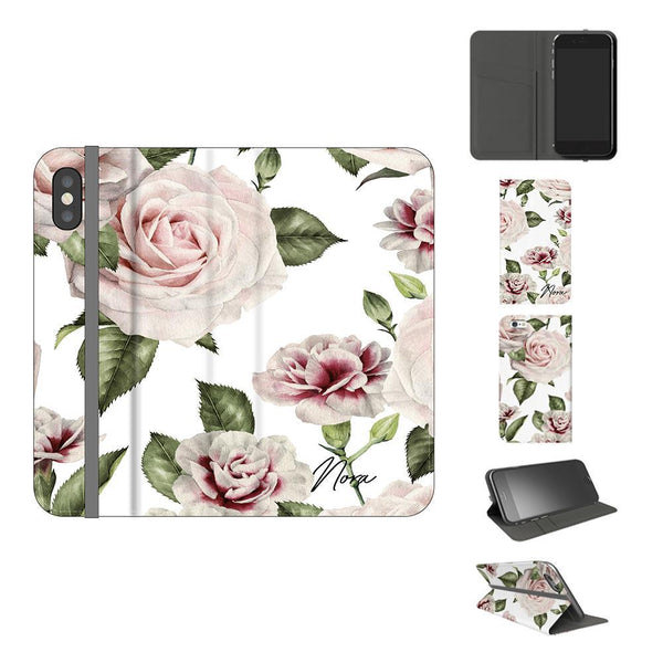 Personalised White Floral Rose Initials iPhone X Case