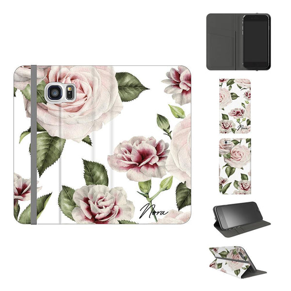 Personalised White Floral Rose Initials Samsung Galaxy S7 Case