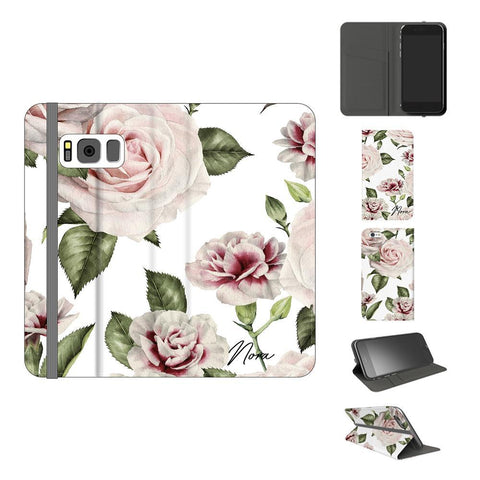 Personalised White Floral Rose Initials Samsung Galaxy S8 Case