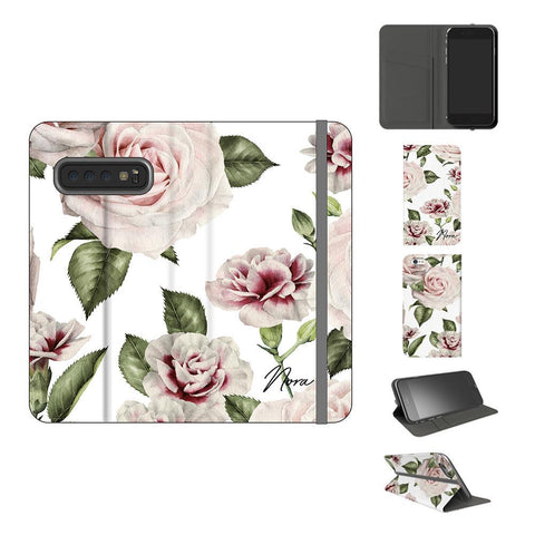 Personalised White Floral Rose Initials Samsung Galaxy S10 Case