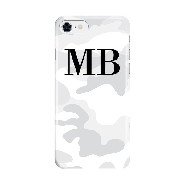 Personalised White Camouflage Initials iPhone 8 Case