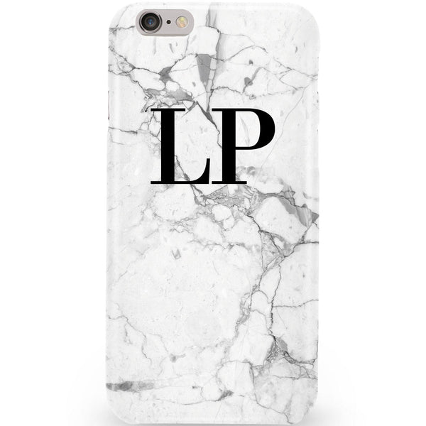 Personalised White Marble x Black Initials Phone Case