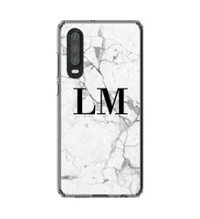 Personalised White Marble x Black Initials Huawei P30 Case