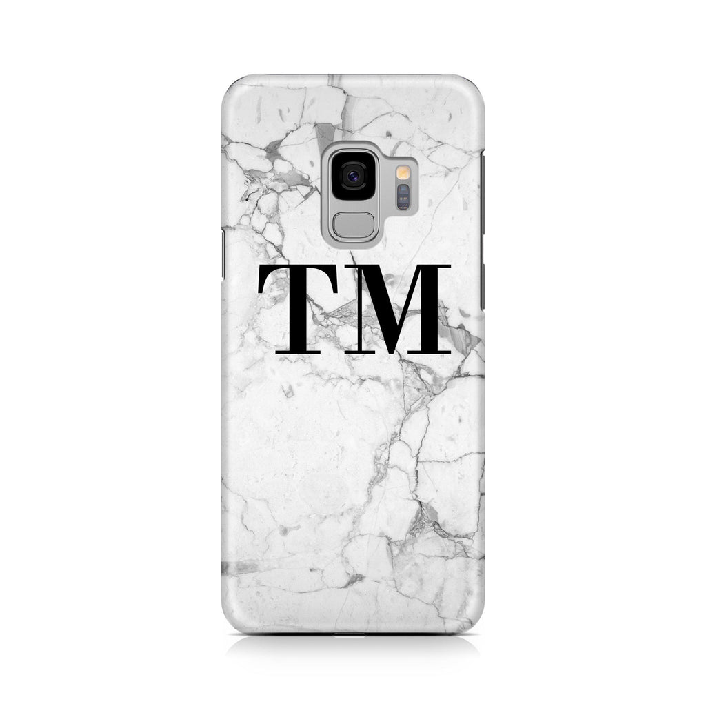 Personalised White Marble x Black Initials Samsung Galaxy S9 Case