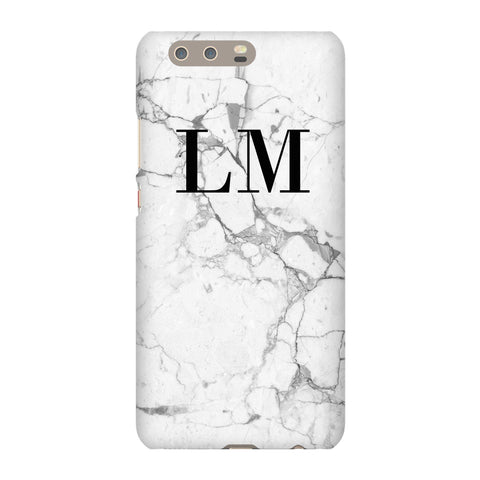Personalised White Marble x Black Initials Huawei P10 Plus Case