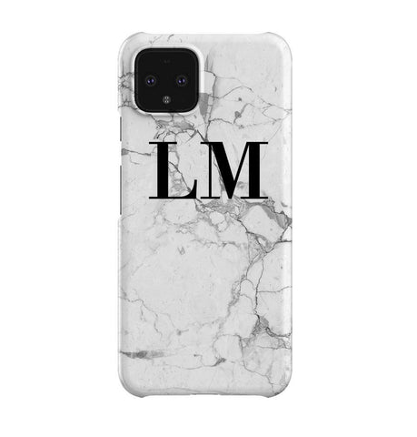 Personalised White Marble x Black Initials Google Pixel 4 Case
