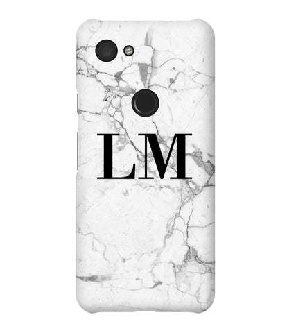 Personalised White Marble x Black Initials Google Pixel 3a Case