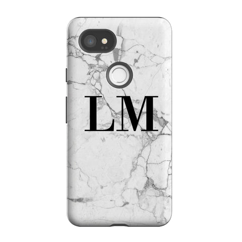 Personalised White Marble x Black Initials Google Pixel 2 XL Case