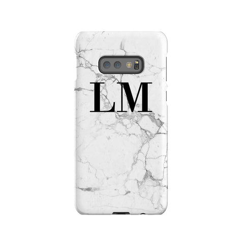 Personalised White Marble x Black Initials Samsung Galaxy S10e Case