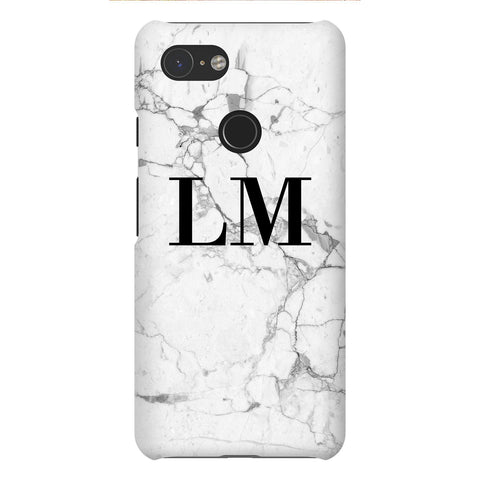 Personalised White Marble x Black Initials Google Pixel 3 Case