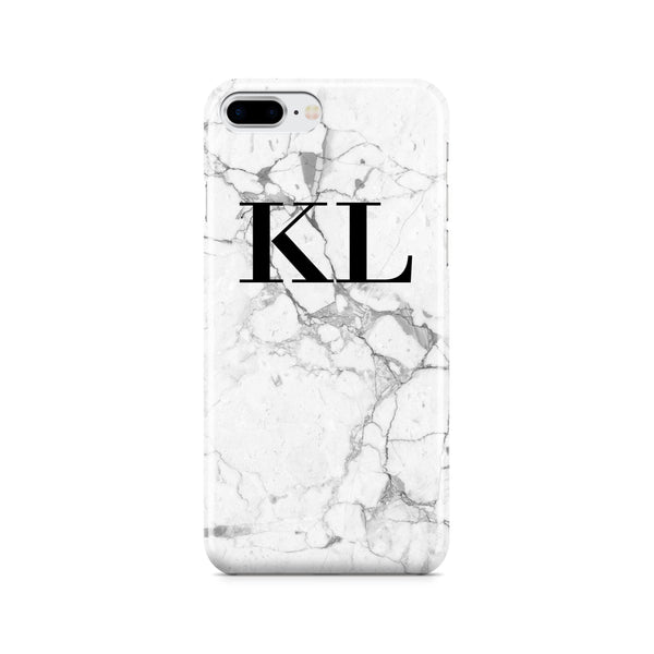 Personalised White Marble x Black Initials iPhone 7 Plus Case