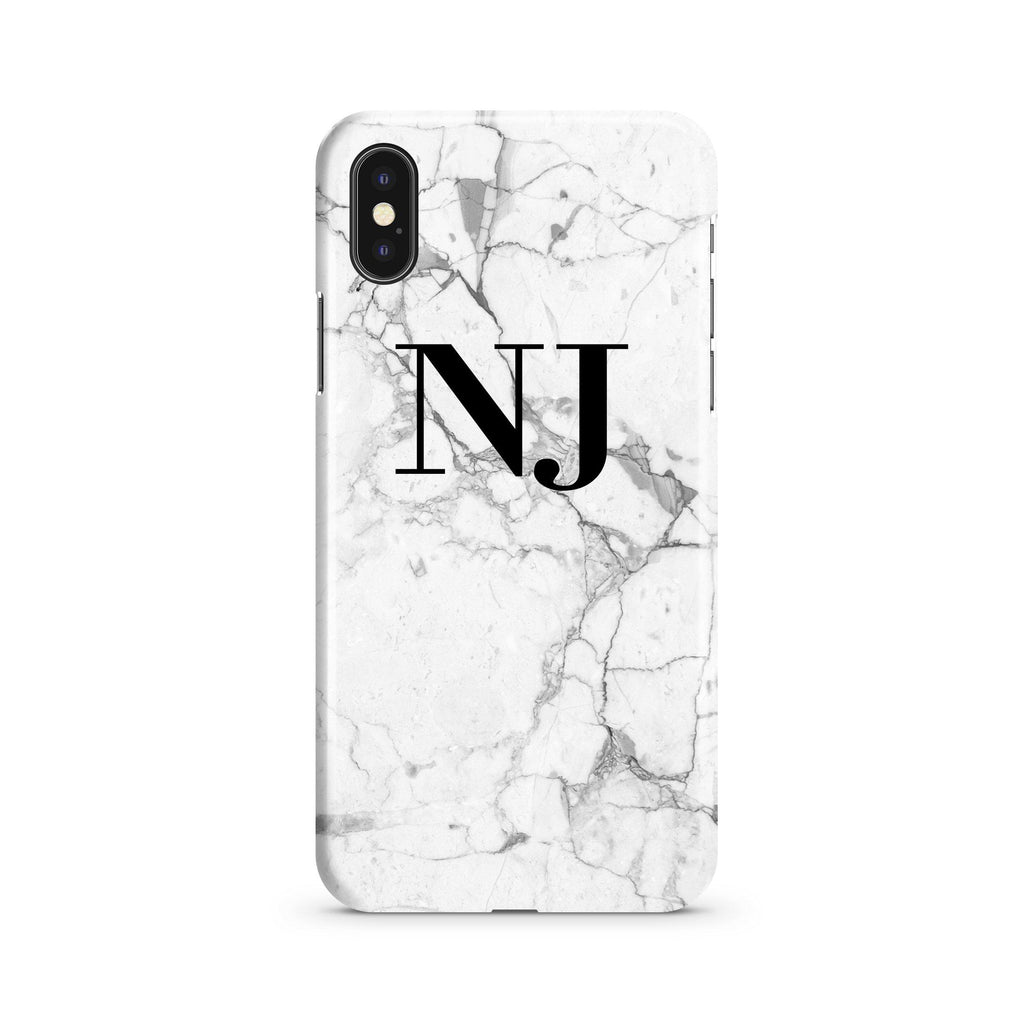 Personalised White Marble x Black Initials iPhone XS Max Case