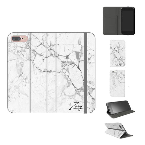Personalised White Marble x Black Initials iPhone 8 Plus Case