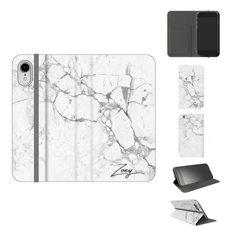 Personalised White Marble x Black Initials iPhone XR Case