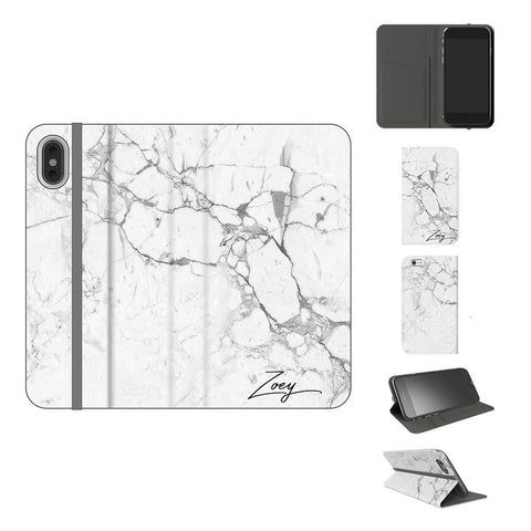 Personalised White Marble x Black Initials iPhone XS Case