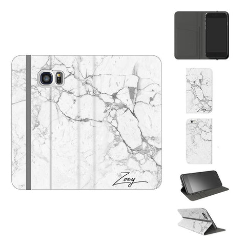 Personalised White Marble x Black Initials Samsung Galaxy S7 Case