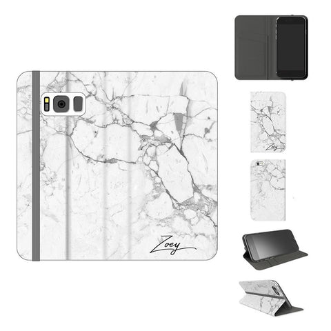 Personalised White Marble x Black Initials Samsung Galaxy S8 Plus Case