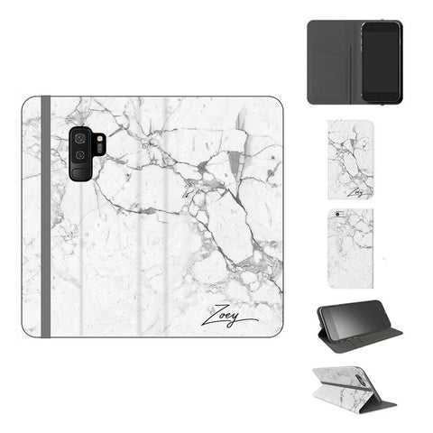 Personalised White Marble x Black Initials Samsung Galaxy S9 Plus Case