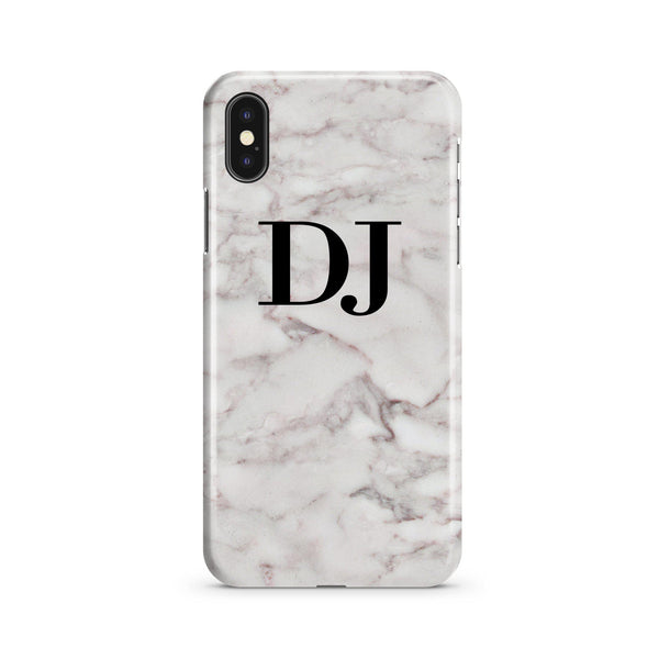 Personalised White Napoli Marble Initials iPhone XS Case