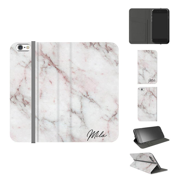 Personalised White Rosa Marble Initials iPhone 6/6s Case