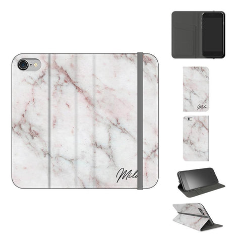 Personalised White Rosa Marble Initials iPhone 7 Case
