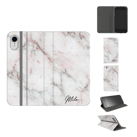 Personalised White Rosa Marble Initials iPhone XR Case