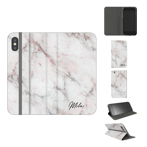 Personalised White Rosa Marble Initials iPhone X Case