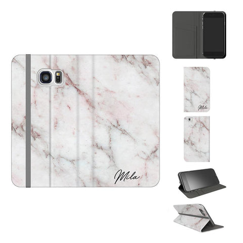 Personalised White Rosa Marble Initials Samsung Galaxy S7 Case