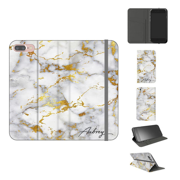 Personalised White x Gold Streaks Marble Initials iPhone 7 Plus Case