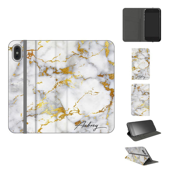 Personalised White x Gold Streaks Marble Initials iPhone XS Case