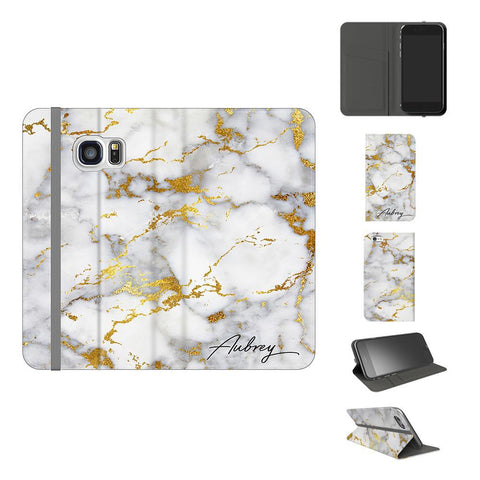 Personalised White x Gold Streaks Marble Initials Samsung Galaxy S7 Case