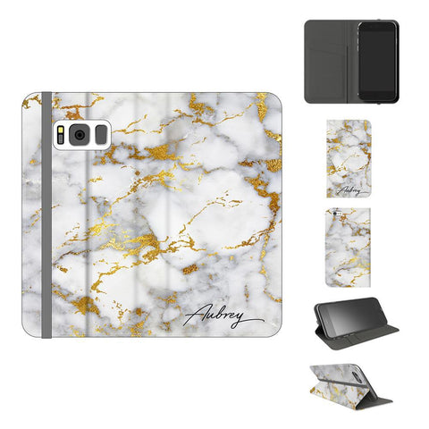 Personalised White x Gold Streaks Marble Initials Samsung Galaxy S8 Case