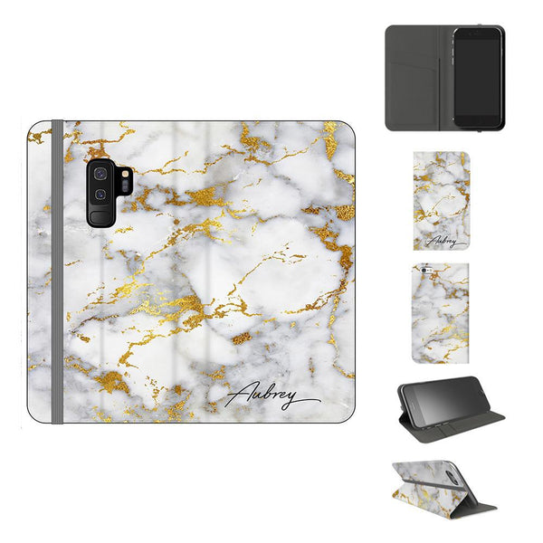 Personalised White x Gold Streaks Marble Initials Samsung Galaxy S9 Plus Case
