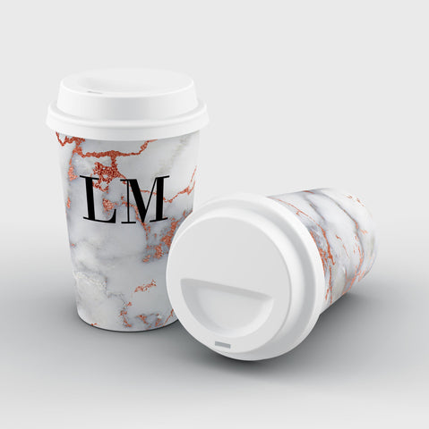 Personalised White x Rose Gold Marble Initials Reusable Coffee Cup