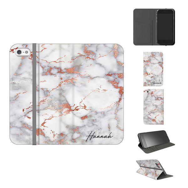 Personalised White x Rose Gold Marble Initials iPhone 5/5s/SE Case
