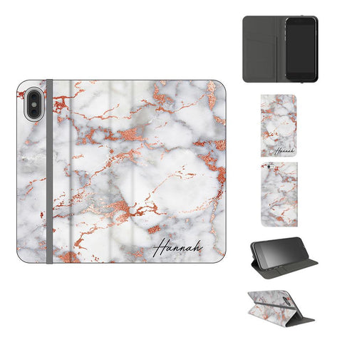 Personalised White x Rose Gold Marble Initials iPhone XS Case