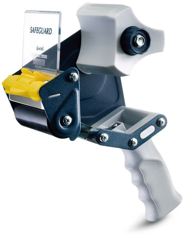 T.R.U. EC-306 Blue/Gray Premium Carton Sealing Hand Held Tape Dispenser: 3 in. wide (3 in. core)