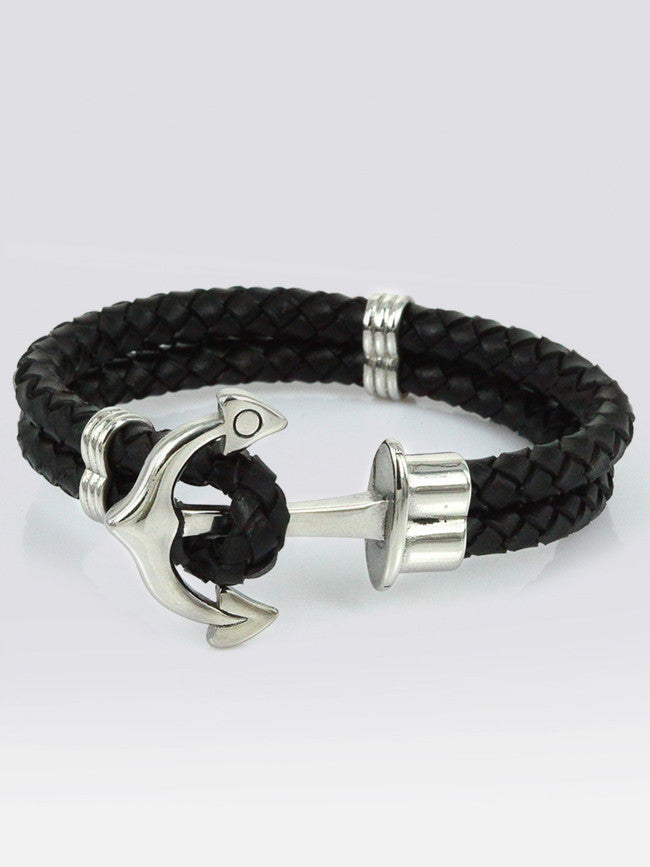 Geniune Leather Bracelets With 316L Steel Anchor Tension Clasp