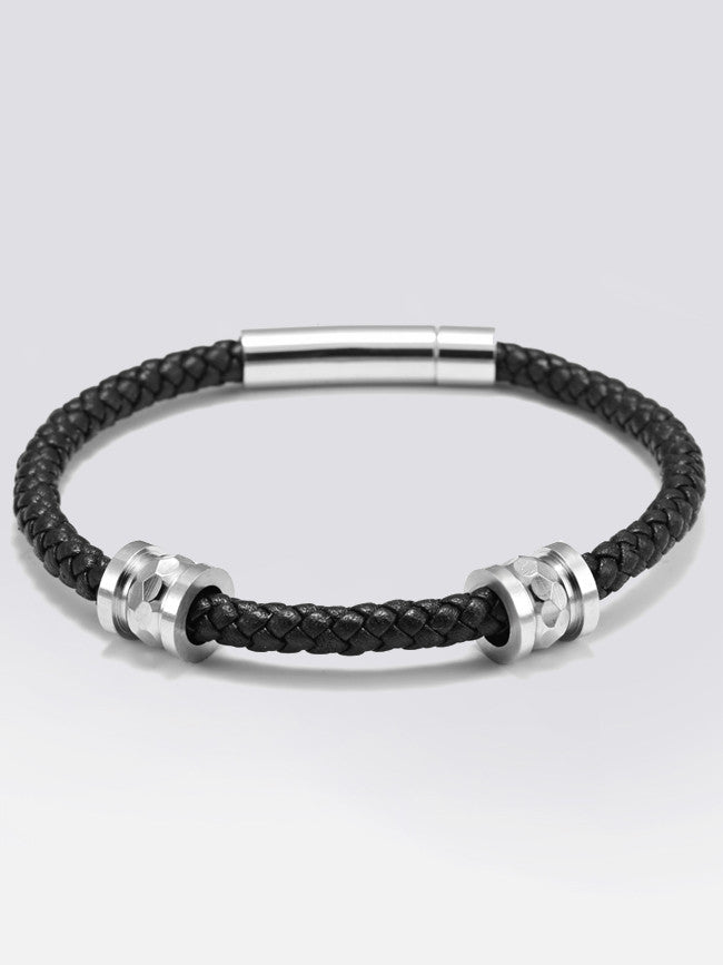 Genuine Leather Bracelet With Double 316L Steel Laser Cut Charms